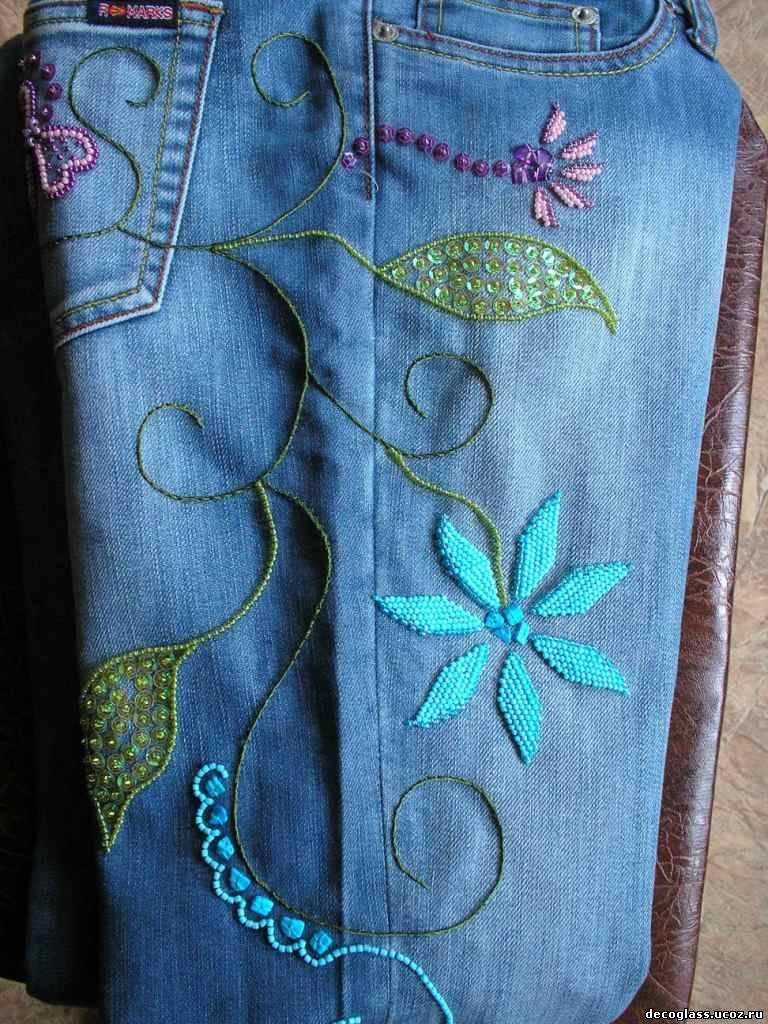 Украсить джинсы своими руками вышивкой 88